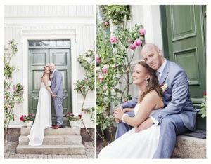 Linda og Lars på trapp i Gamlebyen i Fredrikstad.